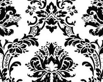 Modern Victorian Damask in Black and White Wallpaper BK32013 - Sold by the Yard