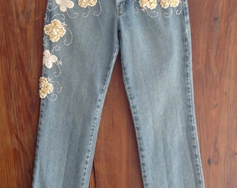 Vintage Stone Washed And Distressed Embellished Jeans.  Made in Brazil, Euro Size 40, US size 6.