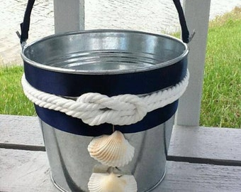 Nautical Knot Flower girl Basket/Bucket-Navy Wedding -Marine Wedding-Coast Guard Wedding