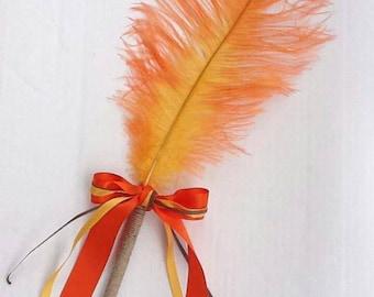 Ostrich Feather Pen/ Fall colors Autumn wedding Pen /Guest Book Feather Pen Orange