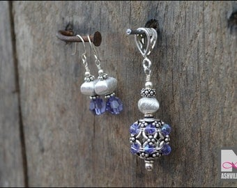 Sterling Silver Pendant and Earring Set with accents of Tanzanite  Swarovski Crystals (SP1095)