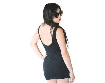 90's Black SCOOP BACK Bodycon Mini Tank Dress Vintage M