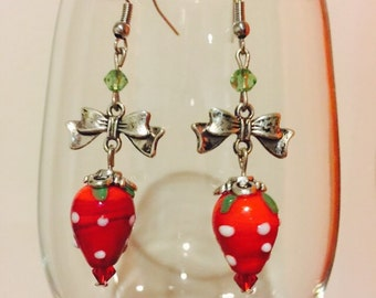 Red Strawberry Glass Bead with Bow Charm Earrings