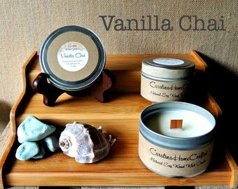 Vanilla Chai - Handcrafted Natural Soy Wood Wick Candle - FREE SHIPPING!!!