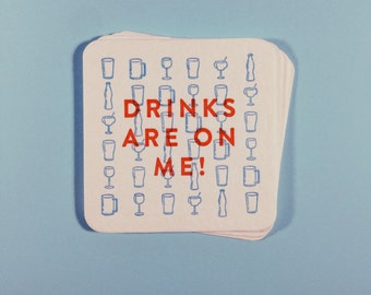 Drinks are on me! Letterpress paper coasters