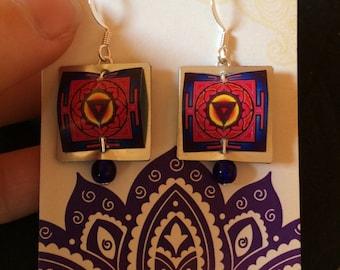 Kali Yantra Earrings. Kali Yantra. Kali. Kali Earrings. Kali Jewelry. Kali Goddess. Yantra Earrings. Yantra.Yantra Jewelry.Goddess Earrings.