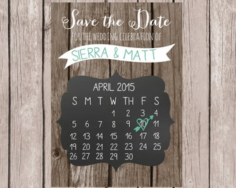 PRINTABLE- Save the Date Card- 5x7 JPG