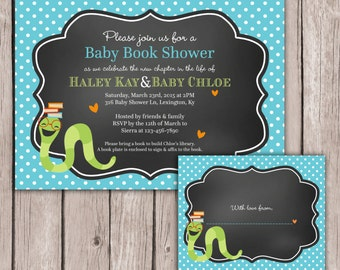 PRINTABLE- Baby Shower Invitation with Book Plate - Stock the Library -  5x7 JPG