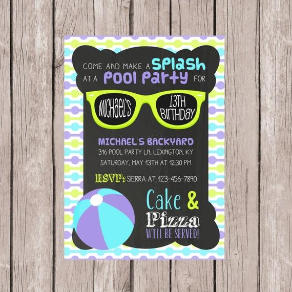 Printablepool Party Einladung Geburtstag Pool Party
