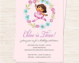 Dora Ballerina Birthday Party Invitation   Dora Ballerina Party Invitation Printable   Girl Birthday   Gracie Lee Design