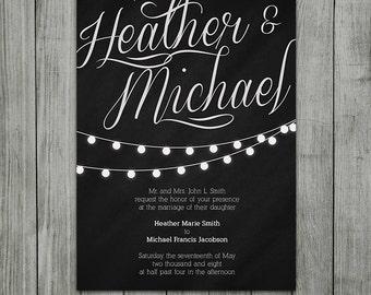 Elegant Lights Wedding Invitation - Digital File