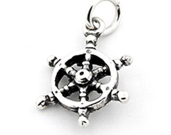 Sterling silver Ship wheel rudder bracelet charm Ship wheel rudder charm pendant with open jump ring (C-10)
