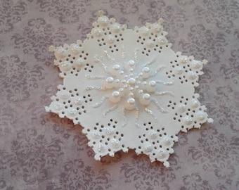 Winter wonderland snowflake decorations - doily lace Frozen birthday party embellishments - Christmas Christening - Winter wedding decor