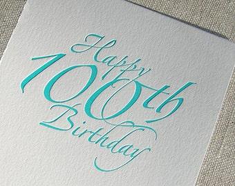100th Birthday Letterpress card