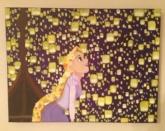 READY TO SHIP Tangled Floating Lanterns Painted Canvas