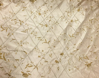 Tan Flower Embroidered Polyester Fabric (Sold By The Yard)