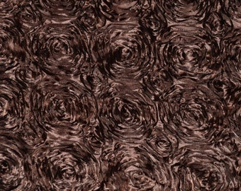 """Rosette Satin Fabric BROWN / 54"""" Wide / Sold by the yard"""