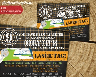 Laser Birthday Invitation- Invitation Printable-digital file