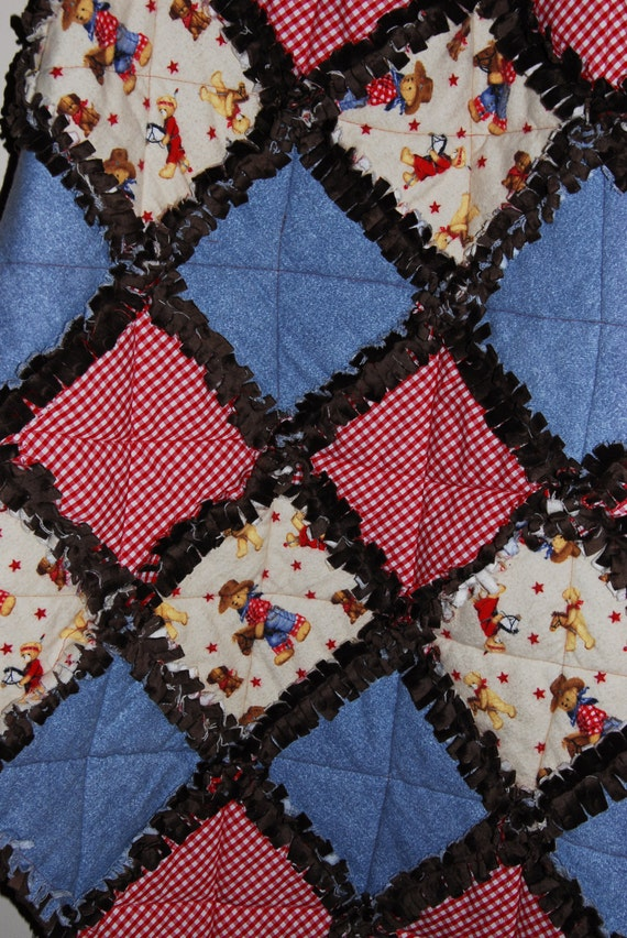 Rag Quilt Pattern Bear : Cowboy and Indian Teddy Bear Rag Quilt Size 40x33