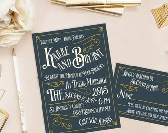 Karre Printable Wedding Invitation (DIY Invitation), Vintage Typography Invitation