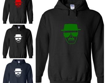 Breaking Bad inspired Heisenberg hoodie hoody hooded sweatshirt black navy blue white red green Small Medium Large XL XXL