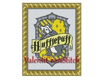 HARRY POTTER Cross Stitch Pattern,-Hufflepuff cross stitch pattern-cross stitch Harry Potter-Counted cross stitch Harry Potter