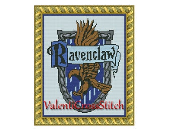 Harry Potter cross stitch pattern, counted cross stitch pattern, Ravenclaw,unique cross stitch patterns