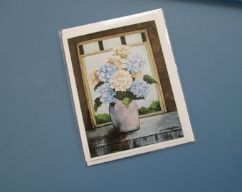 HYDRANGEAS IN VASE by Old Open Window -  - Set of Five - 13.50/ (includes shipping)