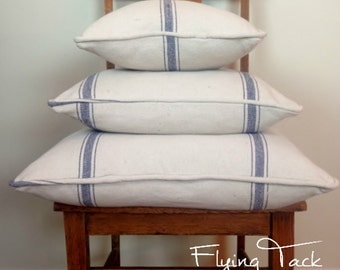 Navy Stripes on Cream/Light Oatmeal  French Grain Sack Pillow cover - Piped Finish