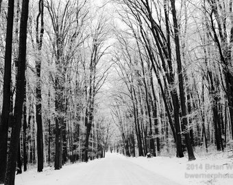 Black and White Winter Road Nature Scene. Morgantown, WV - Coopers Rock. Metallic photographic print.