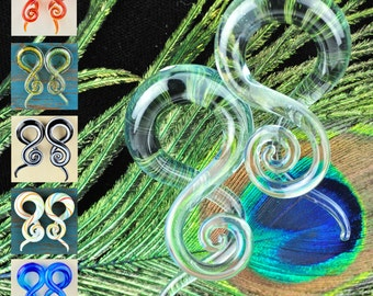 Pair of glass pyrex twister treble hanger spiral tapers ear plugs gauged ear spacers jewelry GT-004