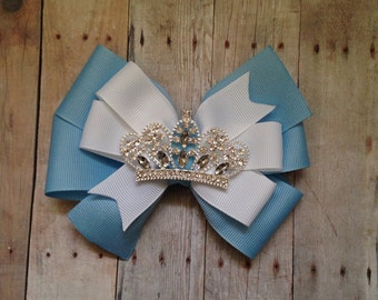 Princess Bow, Birthday Bow, Princess Crown Bow, Birthday Princess, Ice Princess Bow