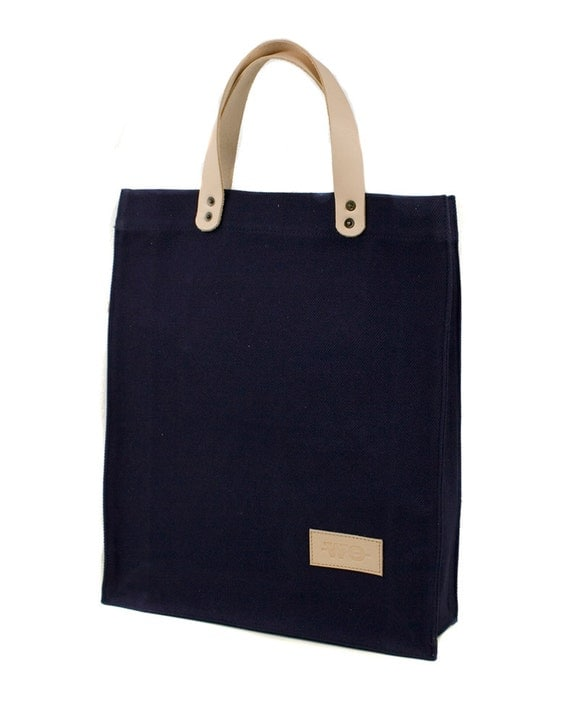 BAG - Navy Blue Southwest Canvas Tote Bag - Men's Leather and Canvas ...