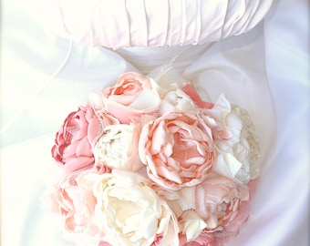 Pink and Ivory Fabric Wedding Bouquet, Bridal Fabric Bouquet, Fabric Bridal Bouquet, Wedding Bouquet, Fabric Bridemaids Bouquet Pink Wedding