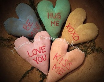 Primitive Valentines Conversation Hearts Bowl Fillers