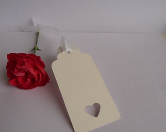 50 Handmade Heart Gift Tags Wedding Favour Place Name Birthday Luggage Tag white