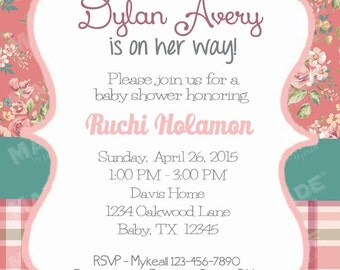 Personalized Vintage Floral #11 Baby Shower Invite, Girl Baby Shower, Boy Baby Shower, Party, Printable file or Printed