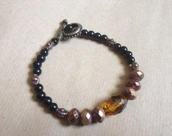 Steampunk Style Bracelet, Black/Bronze