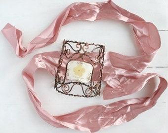Real Flower Bracelet, Copper Bracelet, Hand Forged Bracelet, Real Flower Jewelry,  Botanical Bracelet, Statement Bracelet, Nature Jewelry