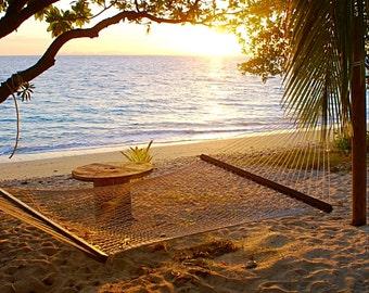 Beach decor - Ocean decor - Ocean print - Sunset print - Beach print - Hammock photo - Blue decor - Wall Art - Home Decor - Fiji decor - Art