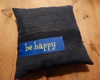 Be Happy...Little denim pillow...Think Positive Cushion
