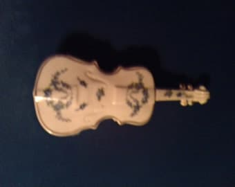 Lovely Sanford Porcelain Violin Trinket Jewelry box