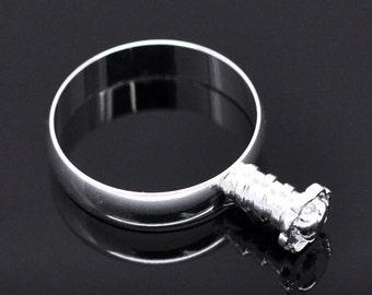 European Brass Finger Ring Setting-Platinum Color-Size 8