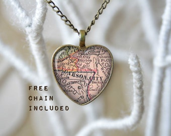 Carson City Nevada heart shape vintage map necklace. Location gift pendant. Free matching chain is included.
