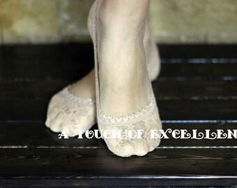Lace Socks | Peep Toe Socks | Tan |  Floral Lace Ankle Socks