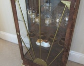 NOW SOLD1930s Vintage Art Deco Upcycled Display Cabinet Vinyl Wrapped Golden Brown