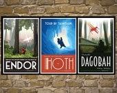 STAR WARS Set of 3 Travel Poster Vintage Print Wall Art Empire Strikes Back Return of the Jedi Room Decor