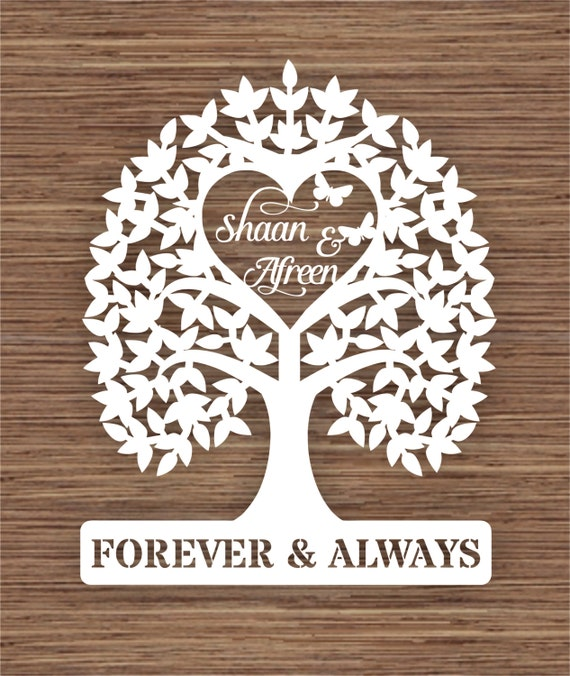 Personalised Names Wedding Tree Gift Pdf Svg Commercial Use
