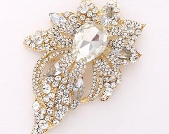 Large Gold Crystal Brooch, Wedding Brooch, Bridal Brooch, Prom Bridesmaid Brooch, Dress Sash Brooch, Rhinestone Gold Brooch for Wedding