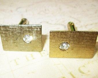 Vintage Gold Toned Cuff Links, White Rhinestone Accent, Swank Cuff Links, Bar Cufflinks, Wedding Accessory